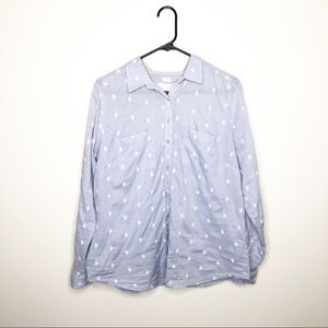 Ann Taylor LOFT Blue White Diamond Embroidered Top